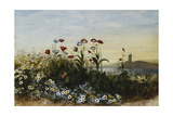 Ferry Carrig Castle, Co. Wexford, Seen Through a Bank of Wild Flowers Giclee Print by Andrew Nicholl