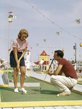 1950s-1960s Young Couple Man Woman Play Miniature Golf Summer Amusement Photographic Print