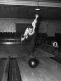 1930s Man Bowling Just Releasing Ball into Alley Photographic Print