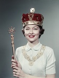 1950s Woman Wearing a Crown Holding a Scepter, Special Queen for Day Photographic Print