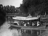 1890s-1900s Group in Boat with Canopy Being Pushed Out into Lake Photographic Print