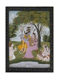 Krishna and Radha Making Music Lámina giclée