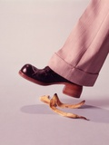 1970s Man About to Slip on Banana Peel Photographic Print