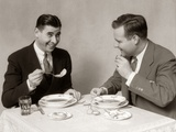 1930s Two Men Dining Eating Soup Photographic Print