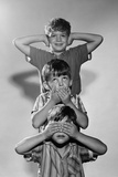 1960s Portrait of 3 Boys Miming Hear See Speak No Evil Photographic Print