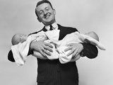 1930s Proud Father Proudly Holding Twin Babies Photographic Print