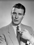 1950s Businessman Serious Expression Pointing to His Chest Confused Photographic Print