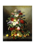 A Still Life with Assorted Flowers, Fruit and Insects on a Ledge Giclee Print by Amalie Kaercher