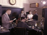 1960s Disc Jockeys in Radio Station Control Room Photographic Print