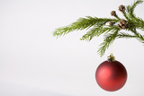 Still Life of Red Bauble Hanging on Christmas Tree Photographic Print