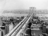 Pedestrians Crossing East River Using Brooklyn Bridge Photographic Print