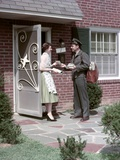 1950s Mailman Delivering Mail to Woman Brick Suburban Home Photographic Print