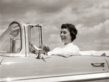 1950s Woman Driving Chevrolet Convertible Automobile Photographic Print
