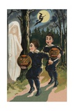 Halloween Postcard of Frightened Children Giclee Print by E.C. Banks