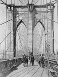 New York and Brooklyn Bridge; (People Standing and Walking On) Manhattan Tower Photographic Print by George P. Hall