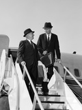 1960s Two Business Men Briefcase Exit Airplane Steps Photographic Print