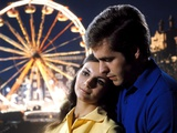 1960s-1970s Couple Man Woman Romantic Head to Head Lights of Ferris Wheel Photographic Print