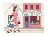 Illustration of Mother and Son Walking by Grocery Store Giclee Print by Lois Lenski