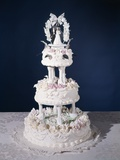 1960s Three Tier Ornately Decorated Wedding Cake Photographic Print