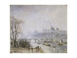 The Louvre and the Seine from the Pont Neuf - Morning Mist Giclee Print by Camille Pissarro