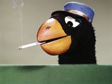 1970s Parrot Head Costume Hand Puppet with Smoking Cigarette in its Beak Photographic Print