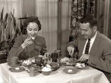 1950s Couple Man Woman Dining in Restaurant Photographic Print