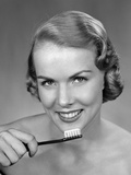 1950s Woman Holding Tooth Brush Photographic Print