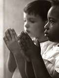 1960s-1970s Two Children Praying Sunday School Photographic Print