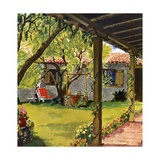Illustration of Backyard Giclee Print