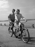 1950s Happy Couple Man Woman Riding Tandem Bike Bicycle Built for 2 Photographic Print