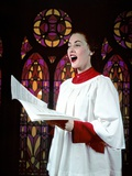 1950s Woman Singing Choir Robe Stained Glass Background Photographie
