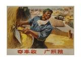 Abundant Harvest Chinese Cultural Revolution Rice Farmer Giclee Print
