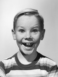 1950s Portrait Happy Boy Stripe Shirt Silly Elated Facial Expression Photographic Print