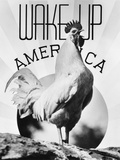 1930s Montage Rooster Wake Up America and Sunrise Photographic Print