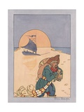 Illustration of a Pirate Carrying Treasure Giclee Print by Jan Cragin