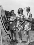 1930s-1940s Three Teen Girls Standing by Archery Target Bows Arrows Photographic Print