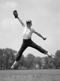 1960s Boy Jumping in Outfield to Catch Baseball with Gove Photographic Print