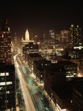 1960s Night Michigan Avenue Chicago Elevated View Illinois Retro Photographic Print