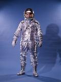 1960's Man in Silver Astronaut Space Suit and Helmet Fotografická reprodukce