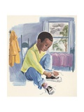 Illustration of Boy Tying Shoelaces Giclee Print