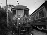 1900s Conductors Posing in Front of Trolley Car Photographic Print