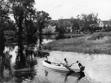 1940s-1950s Pair of Boys in Rowboat with Collie Fishing in Farm Area Photographic Print