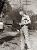 1930s Elderly Farmer Checking Mail Mailbox Retro Photographic Print