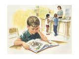 Illustration of Children at Library Giclee Print