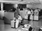1960s Two Men Technicians Working in Ibm 360 Mainframe Computer Room Photographic Print