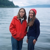 Two Teenaged Girls Standing by Lake Photographic Print