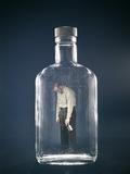 1960s Slumped over Alcoholic Man Holding Whiskey Bottle Trapped Inside Alcohol Bottle Photographic Print