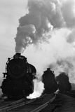1930s-1940s Head-On View of Three Steam Engines Silhouetted Against Billowing Smoke and Steam Photographie