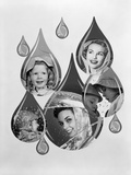 1950s-1960s Rain Motif Montage with Faces in Rain Gear Superimposed Inside Raindrops Photographic Print