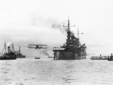Biplane Flying from Armored Cruiser Photographic Print